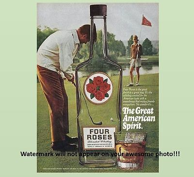 Vintage Four Roses Bourbon Whiskey PHOTO Art Advertisement Golf Bottle Ad Sign