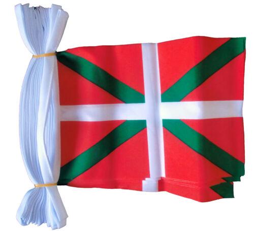 BASQUE SPAIN FLAG BUNTING 30 flags 9 metres Bilbao Pamplona spanish ESPANA