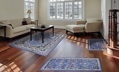 Throw Rugs Blue 3 Piece Set Living Room Bedroom Area Floor Mat Runner Scatter Blue Living Room Set