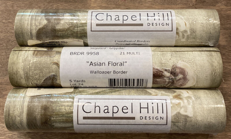"3 rolls-Cheri Blum~Wall paper Border~""ASIAN FLORAL""~Orchids~Iris~5 Yard Roll~NEW"