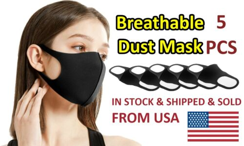 5 PCS Washable Reusable Face Cover Air Purifying Black Colored Mask