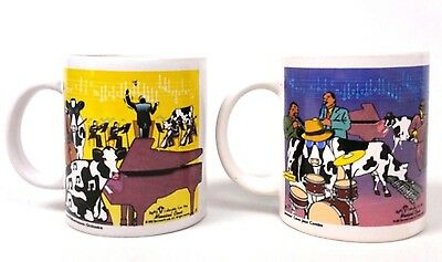 2003 Lot of 2 MOOSICAL COWS Collectible Cow Mugs with Graphics 12 oz.Coffee Tea