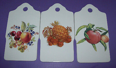3 Stück im Set Porzellanbrettchen Porzellan Brettchen mit Obstdekor