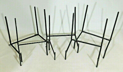 A Lot of Five (5) Very Sturdy Large Sized Black Iron Easel Display -