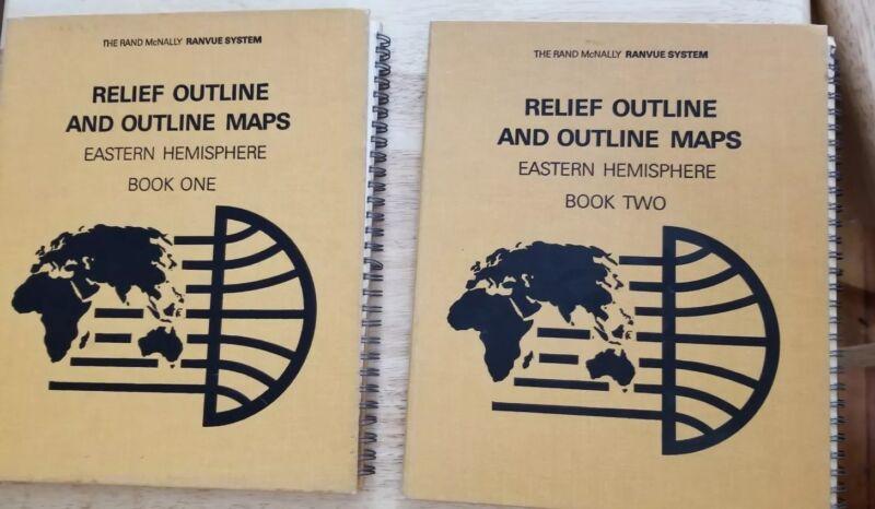 Bk 1 & 2 Rand McNally Ranvue System Relief Outline Maps Atlas Eastern Hemisphere