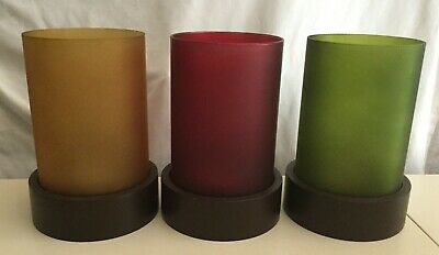 Set of Three Frosted Jewel Tone Glass Candle Holders Hurricanes Wooden Bases EUC