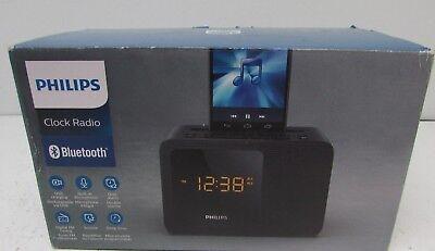 New Philips Black Dual Alarm Bluetooth Clock Radio