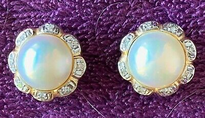 Mabe Pearl Diamond Button Earrings 14k Yellow Gold Pierced Omega -