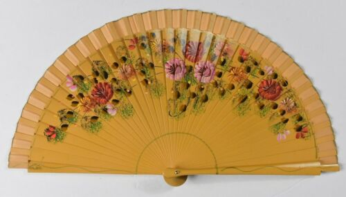 Vintage 2 Side Hand Painted Wooden Folding Hand Fan with case floral