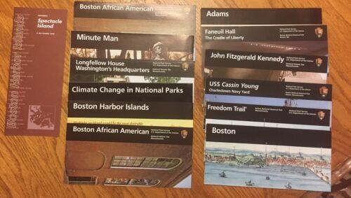 Lot of 12 National Park Brochures NPS - JFK Faneuil Hall Adams Minute Man Boston