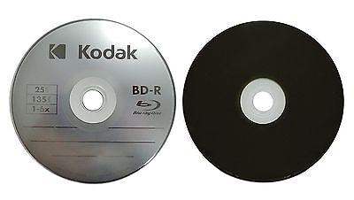 25 KODAK 6X Blank BD-R Blu-Ray Logo Branded 25GB Media Disc in Paper Sleeves