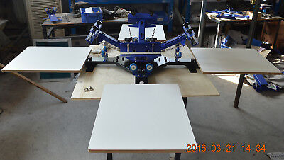 Desktop 4-4 Color Screen Printing Machine Square Pallet Rotary Press Printer
