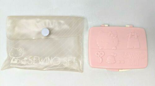 Rare Vintage 1976 Sanrio Hello Kitty Pink Original Sewing Set Kit with Case