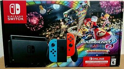 Nintendo Switch 32GB Console Red/Blue Mario Kart 8 Deluxe Bundle+3Mo Online New!