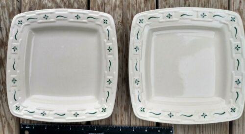 Two 2 Longaberger Pottery Woven Traditions Soft Square Luncheon Plate Green Nice