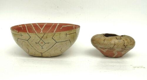 x2 Antique Shipibo Pottery Peru Sap Glaze Peruvian Tribal Bowls - AN2