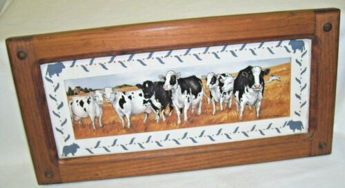 Framed Holstein Cow Accent Picture Farm and Countryside Print