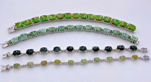 SHOPHQ GEM TREASURES STERLING SILVER 925 GREEN MULTI-STONE TENNIS BRACELETS LOT