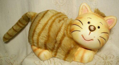 "Kitty Cat Piggy Bank 12"" Long Orange Striped Fur Tabby Kitten Bendable Tail 2005"