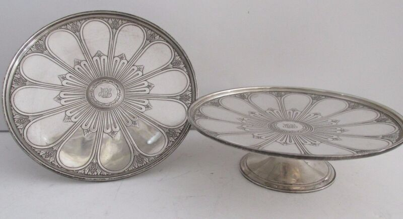 Pr TIFFANY STERLING COMPOTES  Silver Art Deco Footed Salvers Tazzas Rare Antique