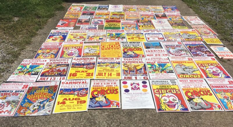 Lot Of 61 Vintage Circus Fair & Carnival Posters Cardboard Paper Sign Some Old