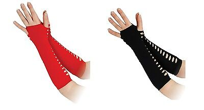 Halloween #Black Or Red Gothic Biker Ladder Gloves 10
