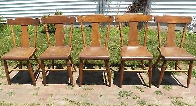 Set Of 5 Plank Seat Chairs Farmhouse Splat Back Rustic Primitive Chic Chair ()