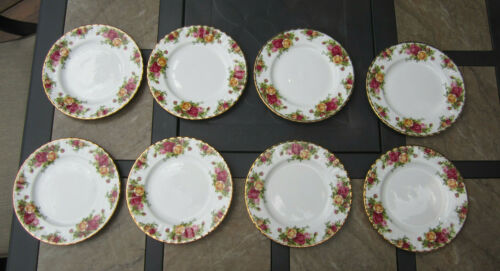 """8 Royal Albert Old Country Roses 8-1/8"""" Salad/Luncheon Plates Excellent!  1962"""