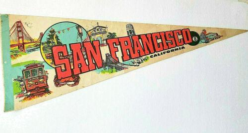 Vintage San Francisco California Pennant Souvenir 1960s 70s Golden Gate The Rock