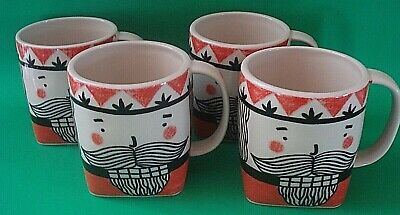 ANTHROPOLOGIE HOLIDAY COFFEE MUGS NUTCRACKER SET 4 NEW