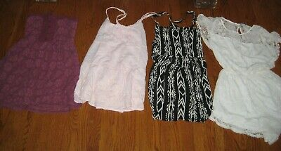 abercrombie fitch Black Ivory Pink Lace Sundress Dress LOT PERFECT Large CUTE