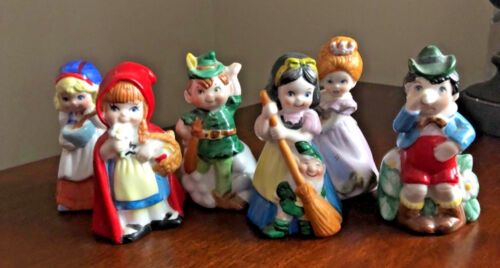 Lot of 6 Vintage Porcelain Storybook Fairy Tale Disney Character Bells WOW! (Q)