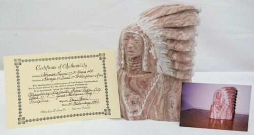 NAVAJO NATIVE AMERICAN STONE SCULPTURE BY NORMAN LEWIS - STRAWBERRY ALABASTER TC