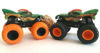 "HOT WHEELS MONSTER JAM 1/64 ""DRAGON"" ORANGE TIRE & Black Tire Trucks RARE HTF"