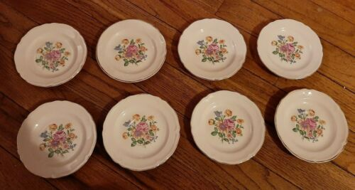 VINTAGE Semi Vitreous Floral  Edwin M. Knowles China Co. USA 1940s  8 saucers