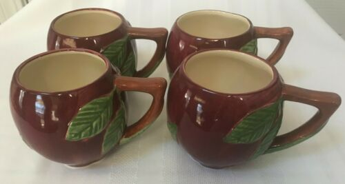 4 Vintage, Franciscan Apple, Cups, Mugs, Made In Portugal, 16 oz. VGC.