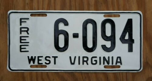 Vintage WEST VIRGINIA - FREE - LICENSE PLATE Rare
