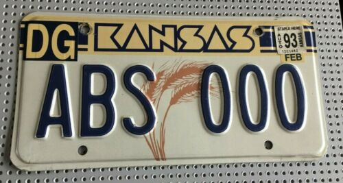 1993 Kansas License Plate ABS 000