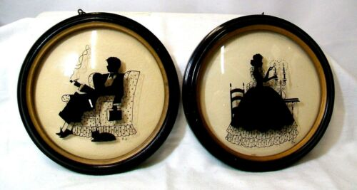 2 Vintage Silhouette Reverse Paintings Round Peter Watson (?) Convex Glass GVC