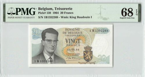 Belgium 1964 P-138 PMG Superb Gem UNC 68 EPQ 20 Francs King Baudouin I