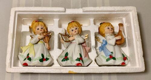 3 VTG HOMCO Home Interior Christmas Angels Instruments Music Figurines #5551