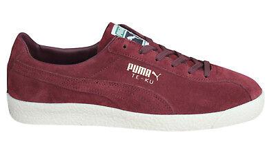Puma Te-Ku Mens Trainers Lace Up Shoes Burgundy Leather 364990 03 B29D