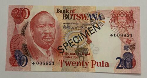 BOTSWANA SPECIMEN 20 PULA 1979 UNC