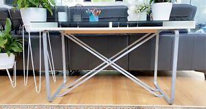 Gorgeous Glass desk top / display desk white & silver legs