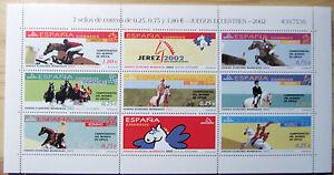 ESPANA-HOJA-BLOQUE-CABALLOS-034-JUEGOS-ECUESTRES-034-ANO-2002-NUEVO