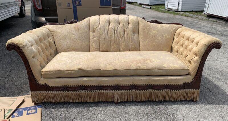 """Early Antique Camel Back Sofa Wood Ornate Carved Handle & Trim Design 82""""L"""