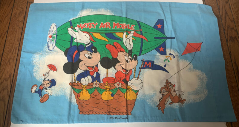Vintage Walt Disney Productions Mickey Air Mobile Pillowcase Minnie Mouse