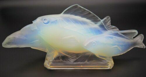 "Art Deco SABINO Opalescent Art Glass Fish Group 14.5"" Signed c.1928 Lalique Era"
