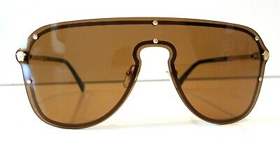 Versace Shield Pilot VE2180 Brown Lenses Sunglasses New and Authentic
