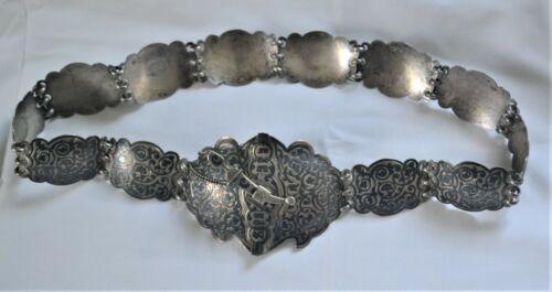 Antique Russian Silver Niello Belt Orest Kurlyukov 1896-1908 Kavkaz